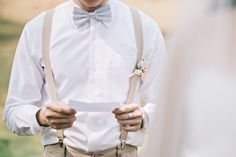 Wedding Day Holy Matrimony Decoration Wedding Details Christian Wedding Ideas DIY Wedding Blush & Gold Wedding Gunawan & Melisa khaki suspender grey bow ties groomsmen boutonniere Boutonnière