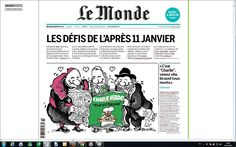 Luc Bronner @lucbronner 2015-01-13 ♦ Les défis de l'après 11 janvier. Et l'hommage de Plantu à Charlie Hebdo - A la Une du Monde bouclé à l'instant