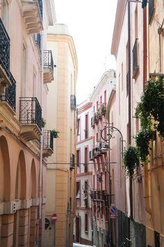Beautiful colourful street in Cagliari, Sardinia