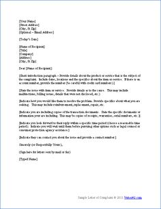 download the complaint letter template from vertex42com