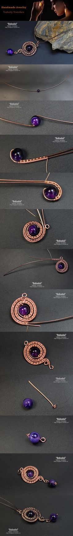 Pendant made of copper wire. Wire Wrap tutorial.