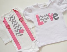 "Valentine's Day Pink and Gray Chevron Sibling Set - Girls' ""Love"" Applique Onesie/T-Shirt and Headband - Boys' Tie/Suspender Onesie/T-Shirt"