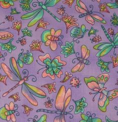 """Pretty Butterfly & Dragonfly Fabric  Five - 6""""  Cotton Fabric Block Quilt Charm  5 Pieces Pretty Butterfly  Dragonfly # 301-1100 by AlwaysInStitchesCo on Etsy"""