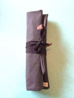Waxed Canvas Knife Roll Handmade Black  Best waterproof canvas with flexible H20 varnish.