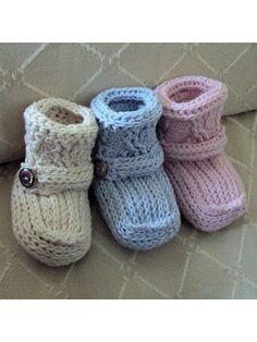 Crochet - patterns - print-to-order - baby & children - cabled cuff booties crochet pattern Booties Crochet, Crochet Sole, Knit Baby Booties, Crochet Baby Shoes, Crochet Slippers, Baby Afghan Crochet Patterns, Baby Patterns, Knitting Patterns, Crochet Doll Clothes