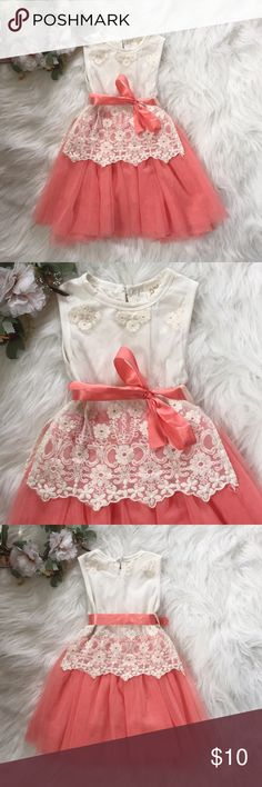 Beautiful toddler dress Perfect color for an Easter dress. Adorable coral tulle and cream lace detail. I'm not certain on this foreign size, but my 2 year old wore it. I'd say it's a 2T. Dresses Formal