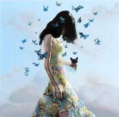 ilustração mulher e borboletas