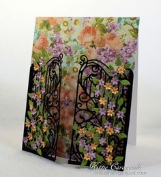 KC Impression Obsession Wrought Iron Fence 2 right Paper Art, Paper Crafts, Shabby, Embossed Cards, Pretty Cards, Sympathy Cards, Flower Cards, Greeting Cards Handmade, Diy Cards