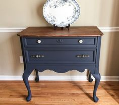 """""""This pretty petite buffet was my project this week. General Finishes Midnight Blue Chalk Style Paint ❤️️ I stuck my creative beck out on the hardware for this one!"""" - Southern Curated Learn more about this beautiful transformation by going to Southern Curated's blog at http://www.southerncurated.com/2018/03/worth-the-wait.html."""