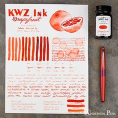 thINKthursday KWZ Grapefruit No need to dust it with sugar, because KWZ Grapefruit is sweet enough. We couldn't be more excited to carry the full line of KWZ ink. These inks come all the way from Poland and offer a … Continue reading → Writing Paper, Letter Writing, Anderson Pens, Best Pens, Fountain Pen Ink, Pen And Paper, Ink Painting, Ink Color, Grapefruit