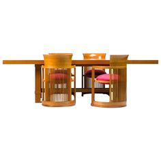 Cassina Taliesin Dining Table and Barrel Chairs Designed by Frank Lloyd Wright…
