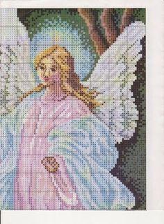 laboresdeesther Punto de cruz gratis : Ángel de la guarda Cross Stitch Angels, Mini Cross Stitch, Christmas Embroidery Patterns, Religious Cross, Christmas Cross, Cross Stitching, Cross Stitch Patterns, Crochet, Needlecrafts