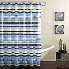 image of PEVA Raya Shower Curtain in Blue