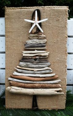 Driftwood Christmas Tree with Sea Star and Burlap Base, Rustic Chic Decor, Beach Home Decor. $45.00, via Etsy. This is amazing!: