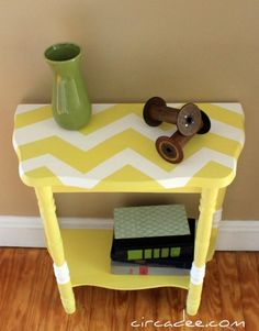 Chevron top on old end table I have a small stand that is just right for my tiny camper, Chica.trying out paint ideas.mine is the dark brown of the .I really like this chevron look
