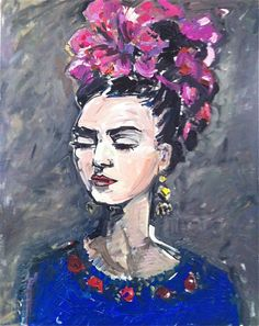 "Frida con Rosas by Maren Devine | $250 | 24""w x 30""h 