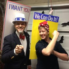Awesome World War II propaganda posters Halloween costumes with Rosie the Riveter & Uncle Sam Costume Halloween, Couples Halloween, Halloween 2013, Halloween Outfits, Holidays Halloween, Halloween Crafts, Happy Halloween, Halloween Party, Halloween Photos
