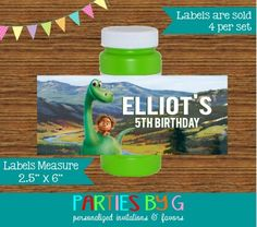 The Good Dinosaur Bubble Labels Birthday Party Favors Personalized