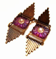 Art Deco Earrings Purple Art Glass & French by BrightgemsTreasures