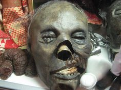 Replica of mummified head of Marquis de Sade.