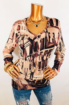 86be3aca91508 Chico s Travelers 2 or L Top Stretch Long Sl Blouse V Neck Venice Print USA
