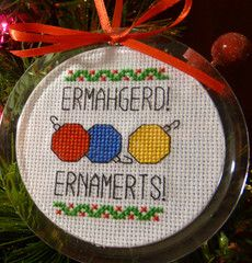 Internet Meme Ornament Kit: Ermahgerd, Ernaments!  and many others available at Subversive cross stitch