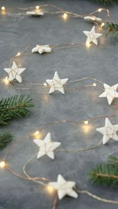 Make your own air dry clay in 5 minutes using ingredients you already have at home. Plus learn how to make a super cute star garland. :D christmas star Star Garland + Easy Homemade Air Clay Recipe Diy Christmas Garland, Homemade Christmas Decorations, Star Garland, Diy Garland, Noel Christmas, Simple Christmas, Garland Ideas, Holiday Decorations, Victorian Christmas