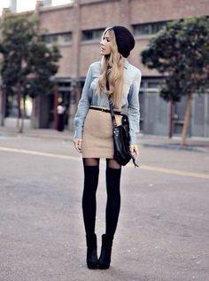 Юбка и джинсовая рубашка