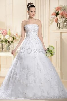 Attractive A-line/Princess Strapless Sweep/brush Appliques Wedding Dress