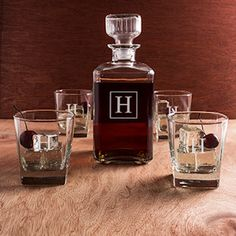 Personalized Decanter Set (5 Pieces) (Cathys Concepts S1193) | Buy at Wedding Favors Unlimited (http://www.weddingfavorsunlimited.com/personalized_decanter_set_5_pieces.html).