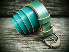 Leather belt turquoise handmade italian cattle leather with