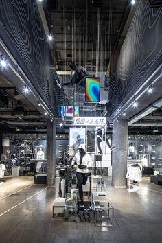 Retail Interior Design, Retail Store Design, Dark Winter, Light Installation, Display Design, Experiential, Winter Sports, Cold Day, Visual Merchandising