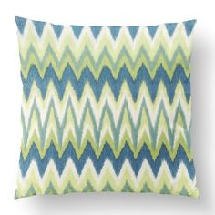 "18"" Custom Outdoor Wavy Zig Cushion  Wavy Zig Item# CC-OD0003 100% Polyester Cover 100% Polyester Fill Green Custom Outdoor Cushions, Fill, Shapes, Throw Pillows, Texture, Cover, Green, Prints, Design"