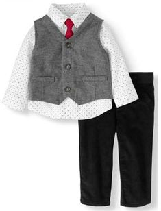 5a3a66f82 Vest, Long Sleeve Button-up Shirt, Corduroy Pants & Tie, 4pc Dressy Outfit  Set (Baby Boys)