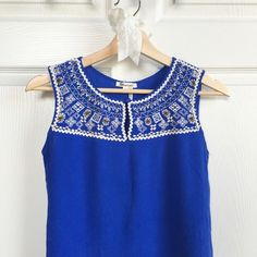 ✨HP✨ Cobalt Embroidered Beaded Crop Top Cobalt blue sleeveless embroidered and beaded crop top in perfect condition, worn only once. Perfect for summer! ✨Host Pick | Style Obsessions | 072416 ✨ Francesca's Collections Tops Tank Tops