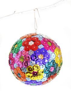 DIY Styrofoam Ball Christmas Ornament — Allison from The 3 Rs Blog tells how she made these sparkly ornaments using colorful sequins.