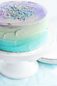 Galaxy Layer Cake with pastel ombre effect buttercream frosting and sprinkles