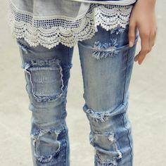 Hayward Patch Skinny Jean, Sweet Distressed Denim Jeans from Spool 72. | Spool No.72