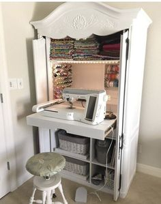 DIY sewing cabinet from an old media cabinet - Hausideen - Diy Furniture Craft Cabinet, Sewing Cabinet, Craft Armoire, Sewing Desk, Sewing Tables, Sewing Closet, Tv Armoire, Cabinet Storage, Storage Shelves