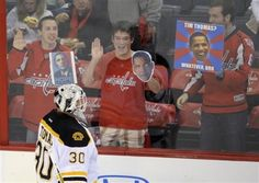 anti-government goalie Tim Thomas gets a taste of the fans opinions