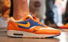 """My Holy Grail the Nike Air Max 1 x Parra """"Albert Heijn"""" (± €5000,-) Nike gave Piet Parra the order to design a sneaker for Amsterdam. He came up with two ideas. This design was inspired by the colors of the supermarket Albert Heijn. But just before they were to be released, Albert Heijn changed the colours. The draft should therefore not be sold and would remain at only 24 couples were distributed among friends and relatives of Piet Parra."""