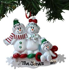 Three-Snowman Family Personalized Ornament