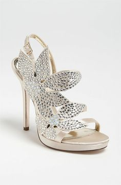 Nina 'Bryyce' Sandal available at Nordstrom, Satin upper/synthetic lining/leather sole Fancy Shoes, Crazy Shoes, New Shoes, Me Too Shoes, Floral Sandals, Bridal Heels, Evening Shoes, Wedding Shoes, Dress Shoes