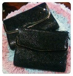 Two similar vintage mesh bags in black with gold tone metal hardware. These were $2.00 and $3.50 respectively.