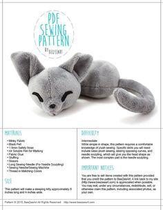 Sleepy Cat Stuffed Animal Sewing Pattern, Plush Toy Pattern, Sewing Pattern, PDF Tutorial