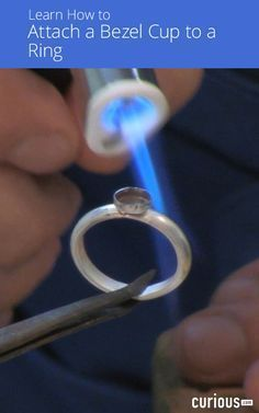 how to prepare and attach a bezel cup to a sterling silver ring by sweat soldering it.