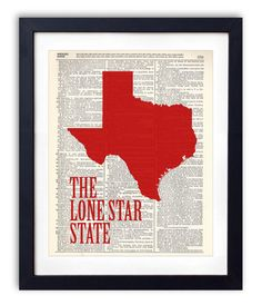 Texas The Lone Star State Upcycled Dictionary Art Print Repurposed Book Print Recycled Antique Dictionary Page - Buy 2 Get 1 FREE