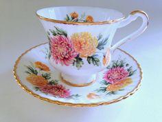 Paragon Tea Cup and Saucer,  Mums Tea Cups and Saucers, Tea Set, English Bone China Tea Cups, Antique Tea Cups, Vintage Teacups, Mum Cups