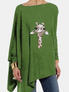 Cartoon Giraffe Printed Long Sleeve O neck Asymmetrical T shirt For Women P1711533, Red / US 12