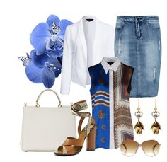 """""""Ripped Denim #2"""" by hastypudding ❤ liked on Polyvore featuring New Look, Boohoo, Givenchy, Dolce&Gabbana, Gucci, Jimmy Choo, denim, skirt, ripped and fashionset"""